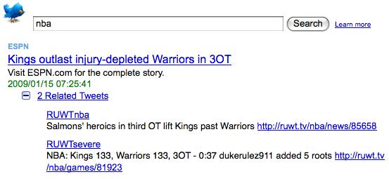 'NBA' on Y! News latest enhanced by Twitter