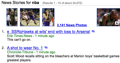 'NBA' on Y! News latest