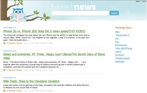 TweetNews Homepage