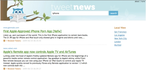 TweetNews IPhone (Los Angeles Ranking)