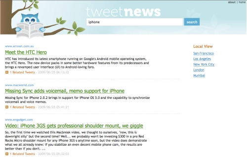TweetNews IPhone (London Ranking)